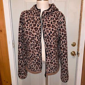 Plush Animal Print Fur Lined Jacket